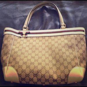 Large Gucci Monogram Tote w/ Cream Leather Details